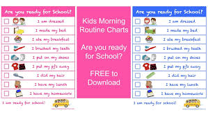 Morning Routine Printable Chart Kids Morning Routine Charts Are You Ready For School
