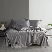 queen king size gray white blue washed silk bedding set bed sets duvet cover bed sheet linen set soft bedclothes california king duvet cover quality bedding