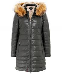 mary long fur trim leather jacket