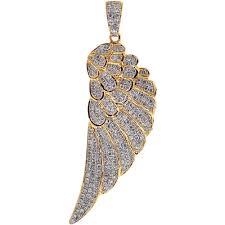 mens diamond angel wing pendant solid