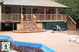 large single level onground pool deck with planter boxes built into the stairs