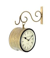 handicraft vintage style station wall clock double sided brass finish