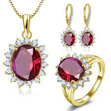 <b>AINUOSHI 10K Solid Yellow</b> Gold Jewelry Set Oval Cut Red ...
