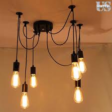6 head vintage industrial ceiling lamp edison light chandelier pendant lighting