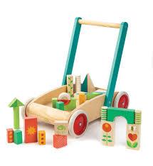 tender leaf baby block walker wagon with wooden blocks