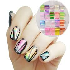 Amazon.com: BMC 6 Sheet Clear Holographic Nail Art Foil Strips ...