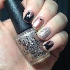 Black, Rose Gold and Glitter Nail Art