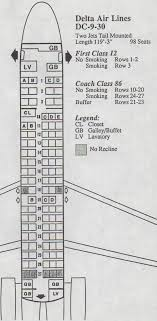 Delta Dc 9 Seating Chart Vintage Airline Seat Map Delta Air Lines Dc 9 30