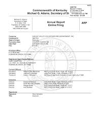 Commonwealth of Kentucky Michael G. Adams, Secretary of State Annual Report  Online Filing ARP
