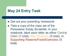 persuasive essay count down class days until due date ppt   24 entry task get out your prewriting homework