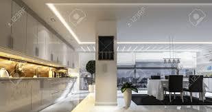 Grande spazioso open space moderno ed elegante cucina e sala da