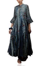 Overcoat Gown Designs Indigo Godet Jacket With A Flat Collar Myoho Designers