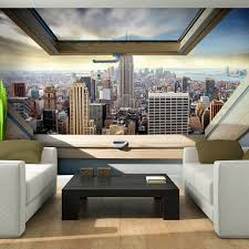 Fototapeten Fototapete Tapete Fenster Stadt New York Himmel Ausblick