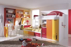 Floating Loft Bed Set The Kids Bedroom With The Bunk Bed With Desk To Save Space