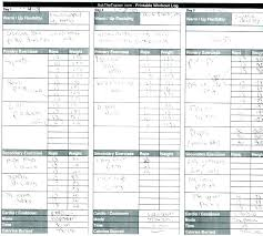 Weight Training Template Free Workout Log Template Download Exercise