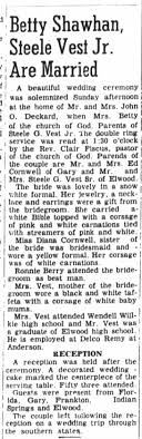 Betty Shawhan, Steele Vest, Jr. Are Married - Newspapers.com
