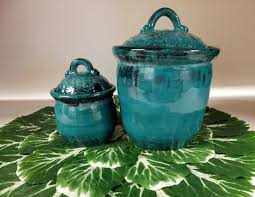 Lime Green Kitchen Canisters Turquoise Kitchen Canister Set Handmade Stoneware Pottery Coffee
