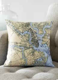 Nautical Chart Pillows Custom Nautical Chart Pillow Petalura