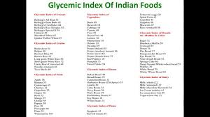 Printable Glycemic Load Chart Glycemic Index Of Indian Foods Glycemic Index Of Indian