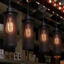 edison vintage pendant light rustic metal cage ceiling lamp fixture chandelier