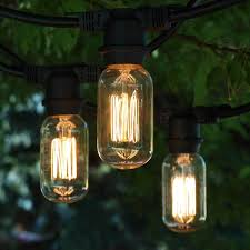 Edison Outdoor Patio Lights 48 Ft Black Commercial Medium String Light T14 Vintage Squirrel Cage Bulbs