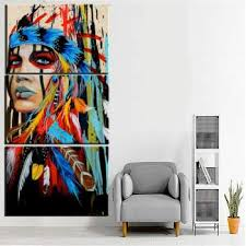 hd printed modern canvas pictures 3 panel native indian girl feathered wall art frame living room