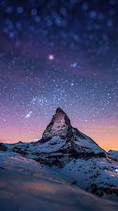 Night Stars Over Moutain Nature Android ...