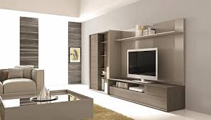 lacquered entertainment wall unit with display shelves