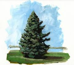 don t overwork the individual pine needles and blades of grass do not need to be painted for the tree to take shape