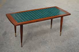 Charming Mid Century Modern Turquoise Tile Top Coffee Table 2 Awesome Design