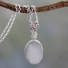 artisan made silver and rainbow moonstone necklace radiant facets
