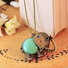 vintage turquoise rhinestone elephant pendant necklace long chain sku1671868 jpg sku1671863 jpg