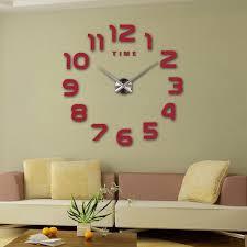 1pcs digital wall clock wall stickers fashion 3d big size clock mirror stickers diy acrylic modern wall art decals