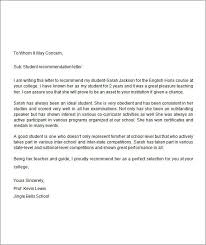 Student Recommendation Letter Template | Nfcnbarroom.com