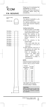 Mhz Chart 362000 Vhf Transceivers User Manual Fa Sc61vc 2 Icom Orporated