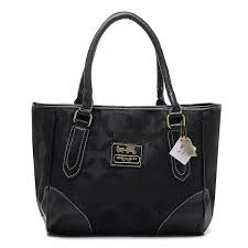Discount Coach Madison Logo In Signature Large Black Totes BQX Clearance