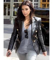 kim kardashian double ted real leather blazer