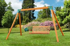 bench swing built with two a frame swing set brackets