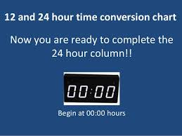 12 24 Hour Time Conversion Chart