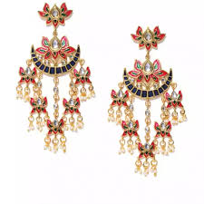 gold colored chandelier earrings with red and clear gemstones from nike coutloot com