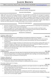 Extraordinary Facilities Manager Resume Alluring Management Examples