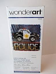 wonderart latch hook kit police car free ship rug 12 x12 new 426220 craft