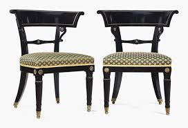 A Pair Of Regency Gilt Metal Mounted, Ebonised And Fruitwood Side Chairs,  Circa