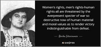 Women's Rights Quotes Delectable Rosika Schwimmer Quote Women's Rights Men's Rightshuman Rights