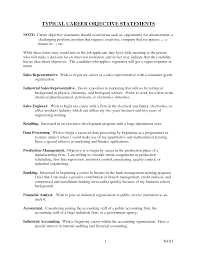 Objective Statement For Resume Typical Career Statements