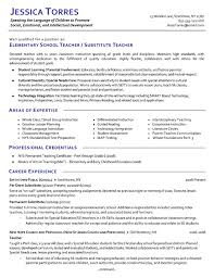 substitute teacher resume example professional of expertise