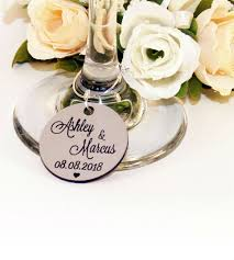 personalised silver round wedding wine charm 3
