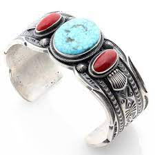 Turquoise & Coral Bracelet by Freddie Maloney: Indian Traders