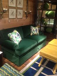 hunter green velvet couch