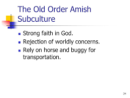 chapter culture the knowledge language values customs  24 the old order amish subculture strong faith in god